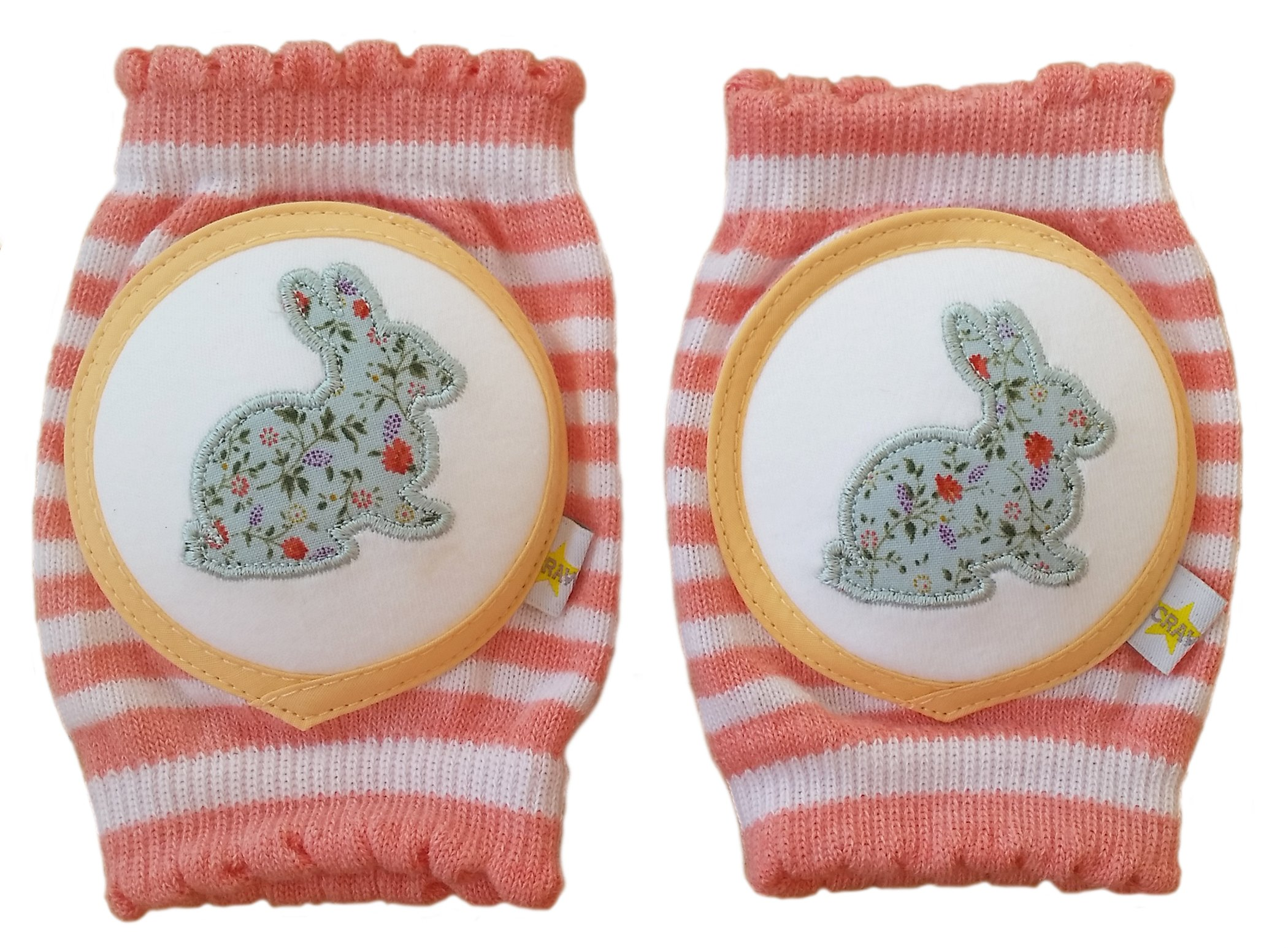 Crawlings Girl's Rabbit Knee Pads One Size Cherry Pink by Crawlings