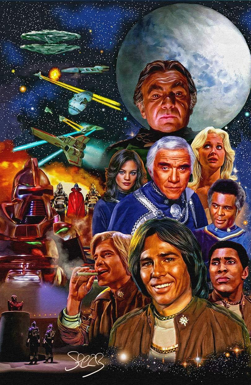 Artist Signed Original Battlestar Galactica Starbuck Apollo Cylons 11x17 Art Print Poster by Mark Spears
