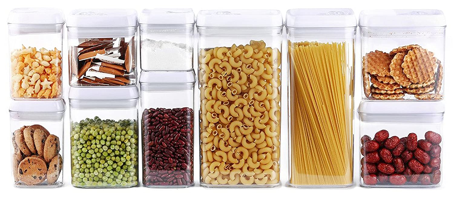 10-Piece Airtight Food Storage Container Set, Pantry Organization and Storage Made Easy! - Keeps Food Fresh, Dry and Organized - Big Sizes Included! - Durable, BPA Free Containers by Dragonn