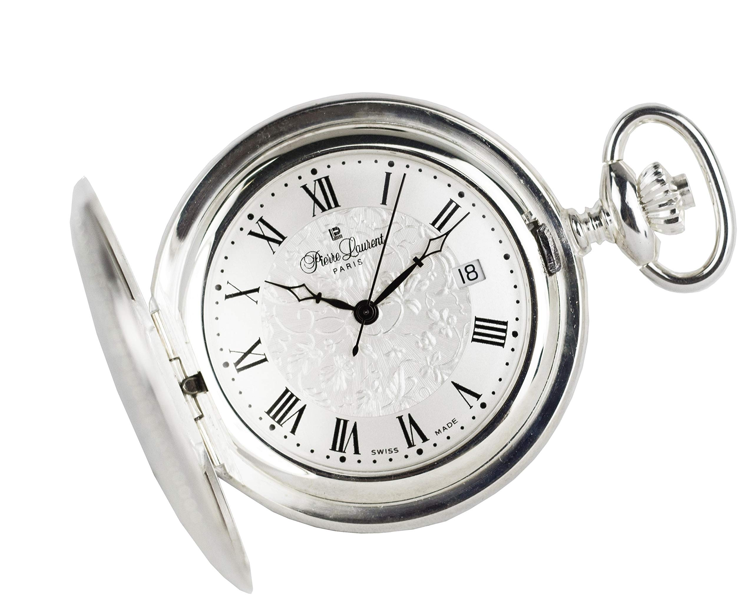 Pierre Laurent Swiss Made Solid Sterling Silver Quartz Pocket Watch 5304