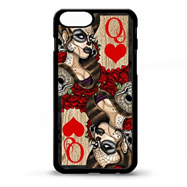 Queen Of Hearts Sugar Skull Playing Card Tattoo Graphic Art Rubber