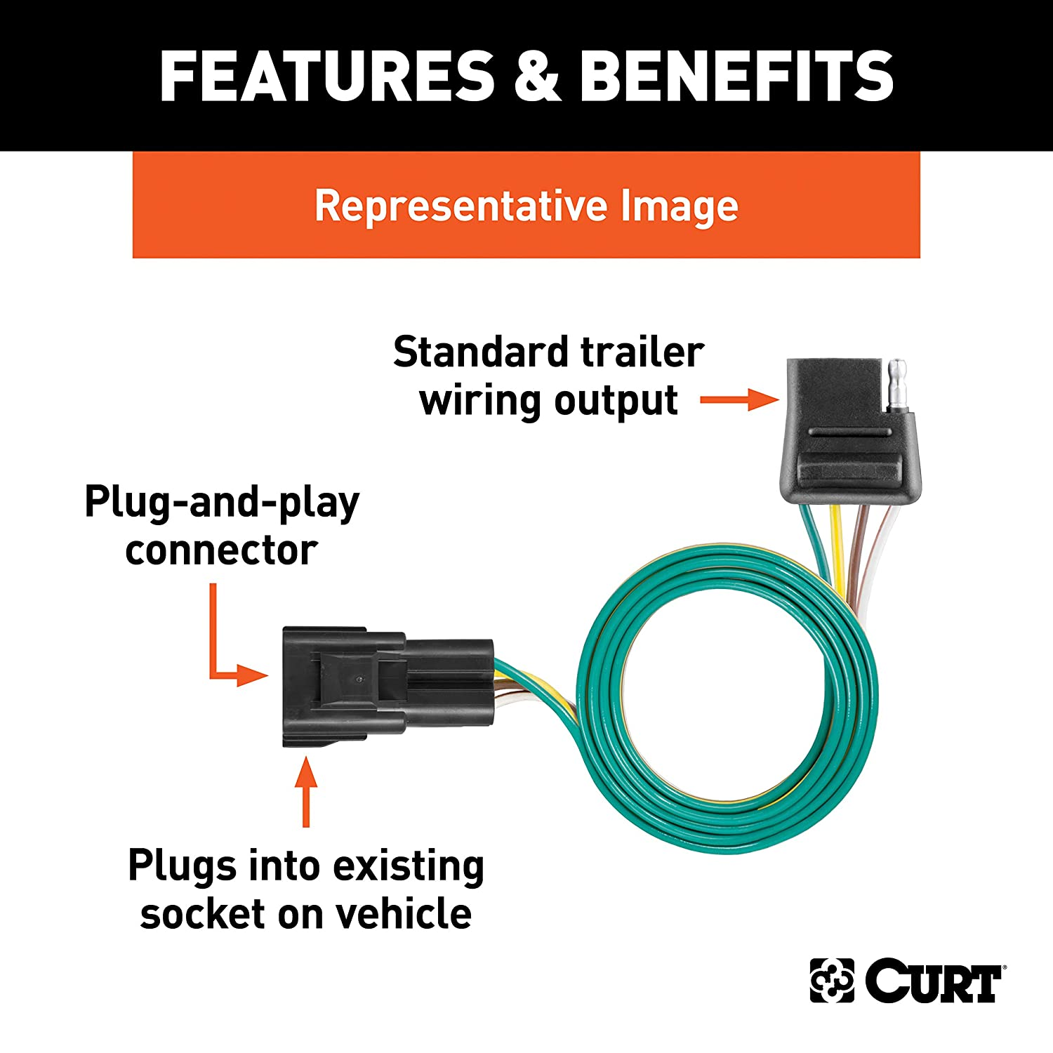 F-550 F-450 F-350 CURT 55247 Vehicle-Side Custom 4-Pin Trailer Wiring Harness for Select Ford F-250