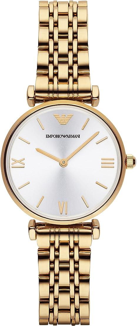 Emporio Armani Gianni T-Bar AR1877 - Reloj para Mujeres, Correa de Acero Inoxidable Chapado Color Dorado: Emporio Armani: Amazon.es: Relojes
