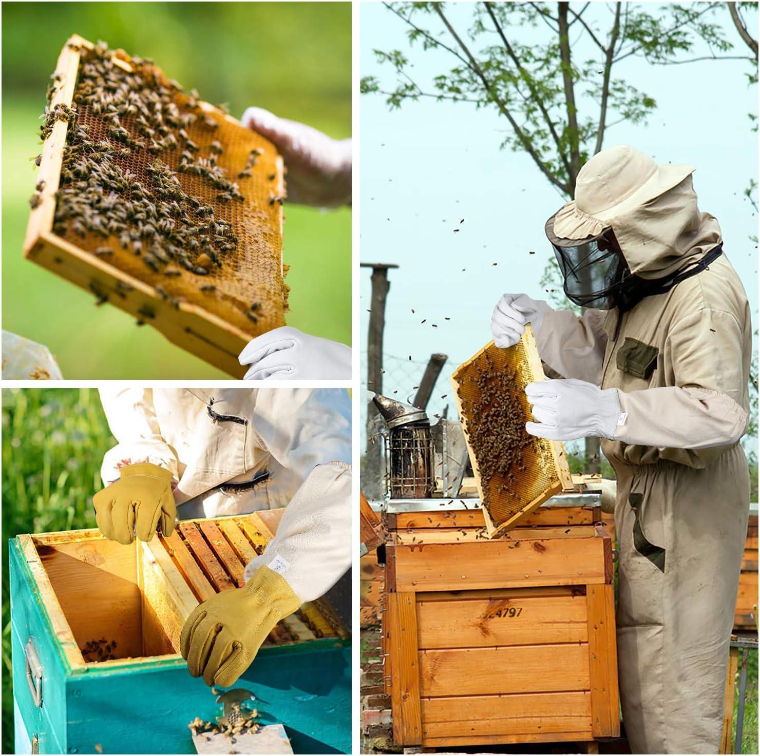 Guantes de Apicultor cjixnji Guantes de protecci/ón para Apicultura pu/ños ventilados Piel de Cabra Transpirables Guantes de protecci/ón para apicultores Impermeables