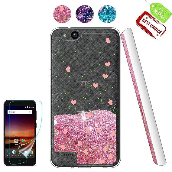 on sale b2bbc 69192 ZTE Tempo X Case, ZTE Tempo X Glitter Case, Liquid Clear with TPU Bumper  Protective Back Cute Girls Case for ZTE Tempo X/ZTE N9137 Pink