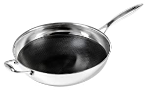 Frieling USA Black Cube Hybrid Stainless/Nonstick Cookware Wok with Helper Handle, 12 1/2-Inch