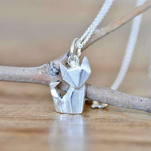 Amazon Origami Fox Necklace In Sterling Silver With 16 Inch