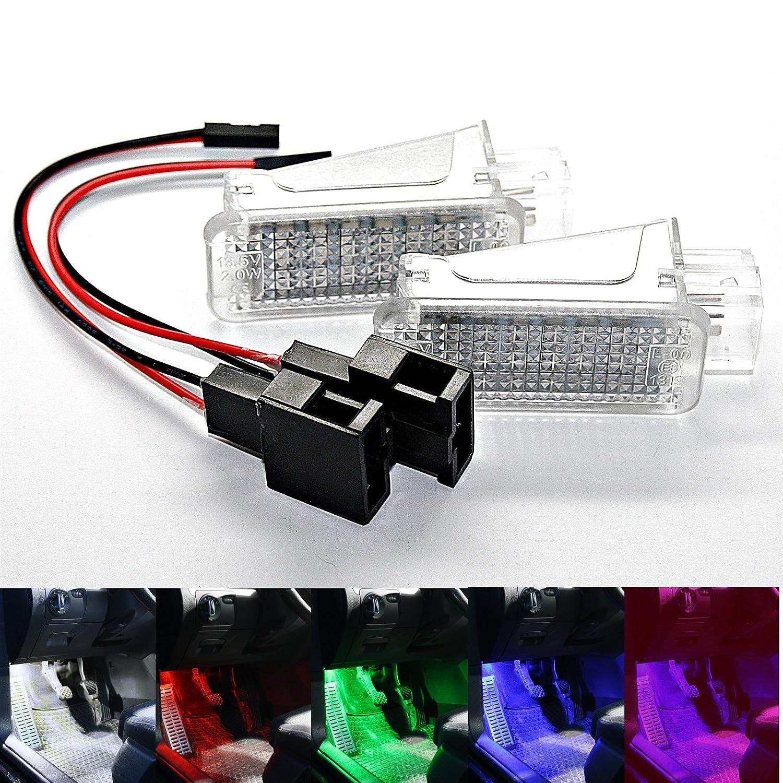 wei/ß wei/ß Blau rot SMD Modul Fu/ßraum Set 2 2X LED Module Fu/ßraumbeleuchtung