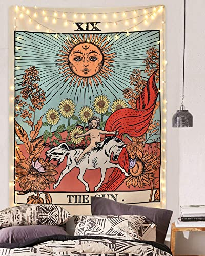 Likiyol Tarot Tapestry Sun Tapestry Wall Hanging Mysterious Medieval Europe Divination Tapestries for Room 70.9 x 92.6 inches
