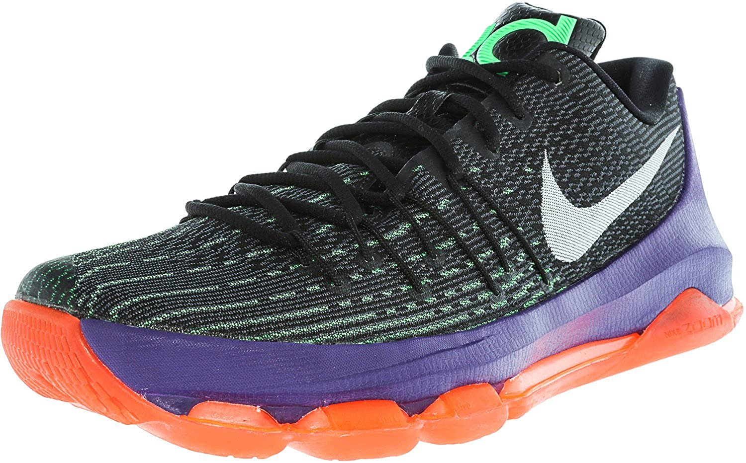 Nike Mens KD 8, BlackWhite Green Shock Hyper Orange, 10 M