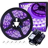 YAYIT 20ft LED Black Light Strip Kit,360 Units,12V Flexible Blacklight Fixtures, 6m LED Ribbon for Indoor Home Bedroom Decoration Fluorescent Dance Party,Non-Waterproof