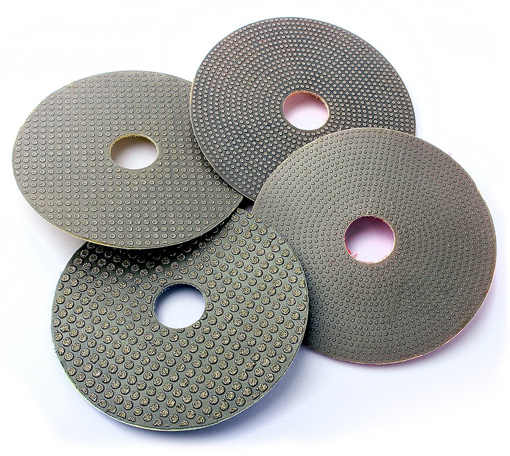 Z-Lion 3 Inches Electroplated Wet Diamond Polishing Pads for Granite Marble Engineered Stone-Pack of 4