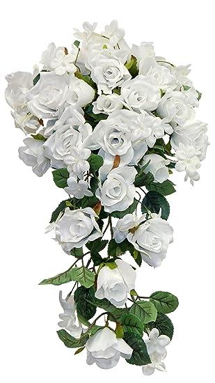 Amazon 23 Rose Cascading Bridal Bouquet Artificial Silk