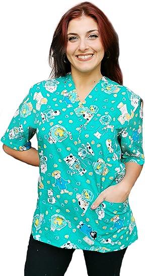 Casacche,Camici da Lavoro,Scollo V,Divisa per Dentista Pediatria Ospedaliera Veterinario