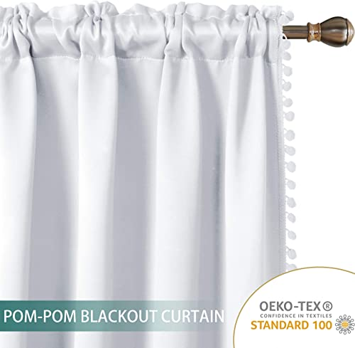 LORDTEX Pom Pom Blackout Curtains for Bedroom – Thermal Insulated Curtains, Sun Light Blocking Rod Pole Pocket Window Drapes for Living Room, 52 x 95 inch, Greyish White, Set of 2 Panels