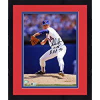 """Framed Nolan Ryan Texas Rangers Autographed 8"""" x 10"""" White Pitching Photograph with""""HOF 99"""" Inscription… photo"""