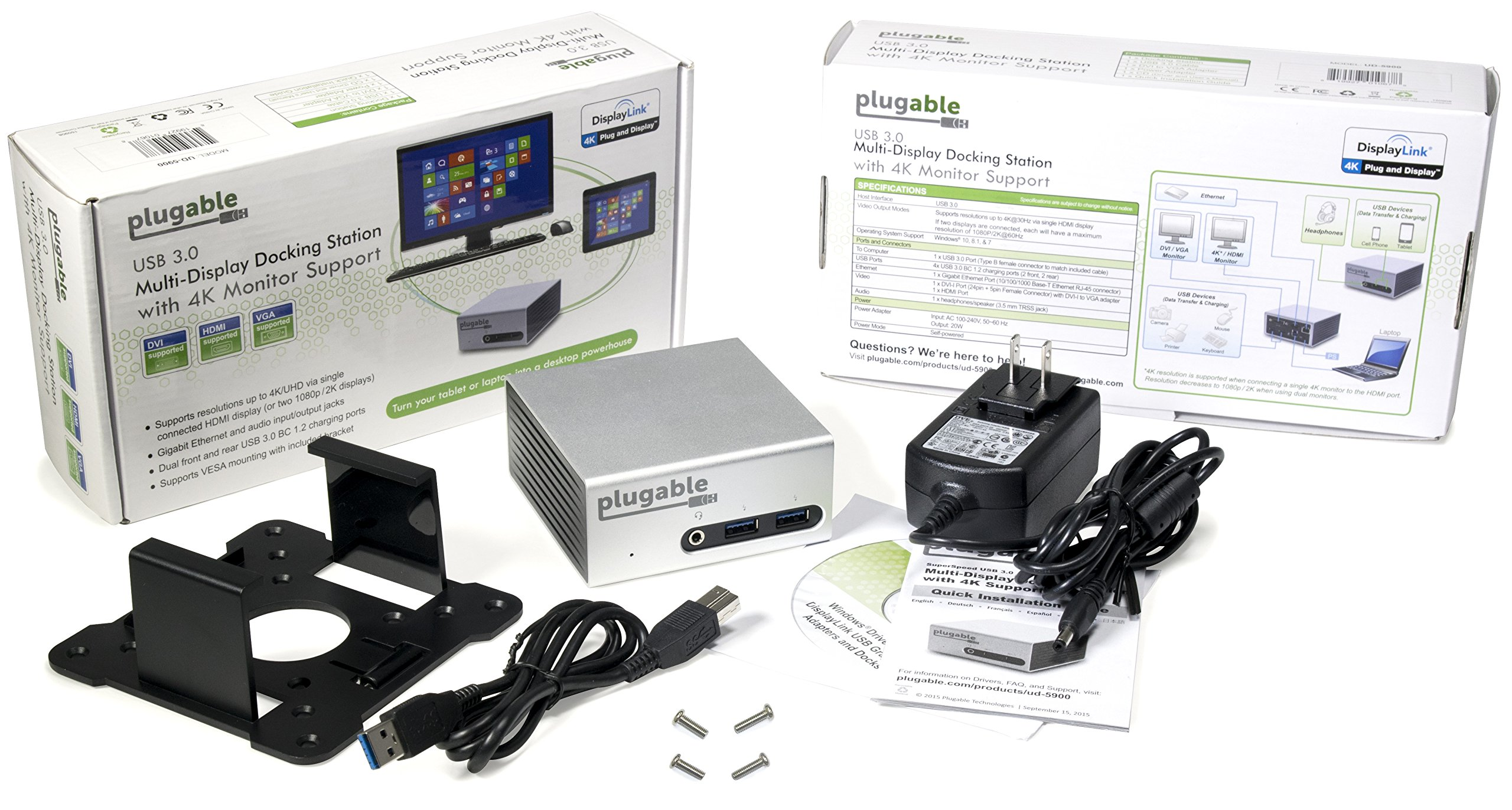 Plugable Universal USB 3.0 Docking Station with Dual Video Outputs and 4K Support for Windows 10, 8.1, 7 (HDMI & DVI/VGA, Gigabit Ethernet, Audio, 4 USB 3.0 Ports, VESA mount Aluminum Mini) by Plugable (Image #5)