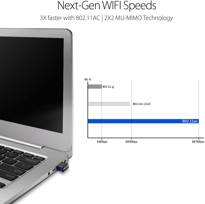 ASUS USB-AC53 AC1200 Nano USB Dual-Band Wireless Adapter, MU-Mimo, Compatible for Windows XP/Vista/7/8/1/10