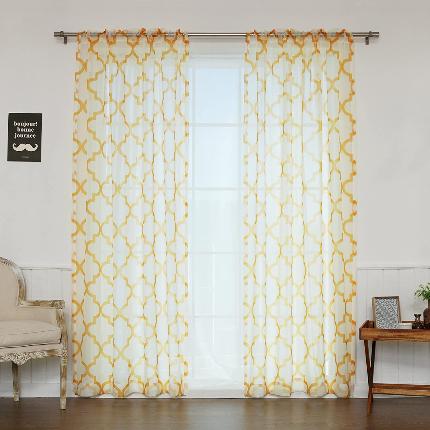 Best Home Fashion Faux Sheer Gauzy Linen Reverse Moroccan Print Curtains Rod Pocket Yellow