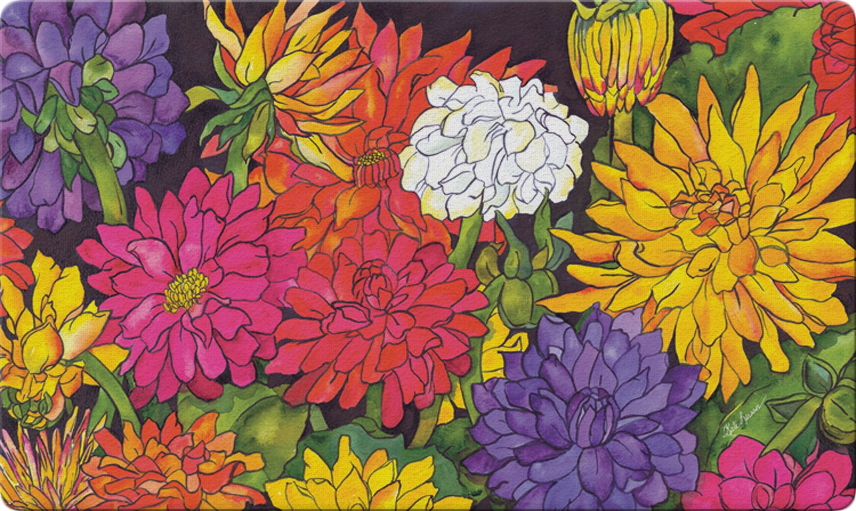 Toland Home Garden Dizzy Dahlias 18 x 30 Inch Decorative Floor Mat Flower Colorful Floral Bouquet Doormat