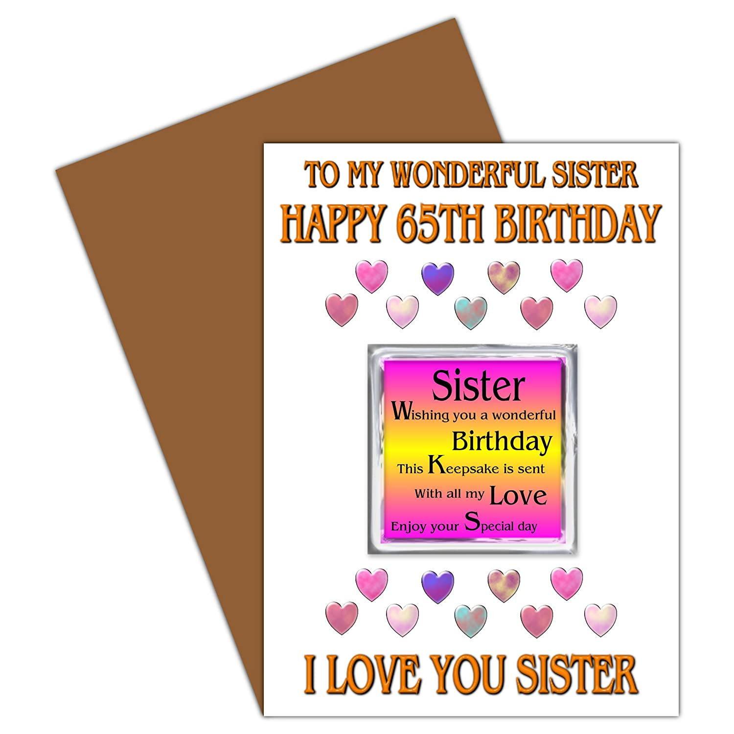 Sister 65th happy birthday card with removable magnet gift 65 sister 65th happy birthday card with removable magnet gift 65 today amazon office products kristyandbryce Image collections