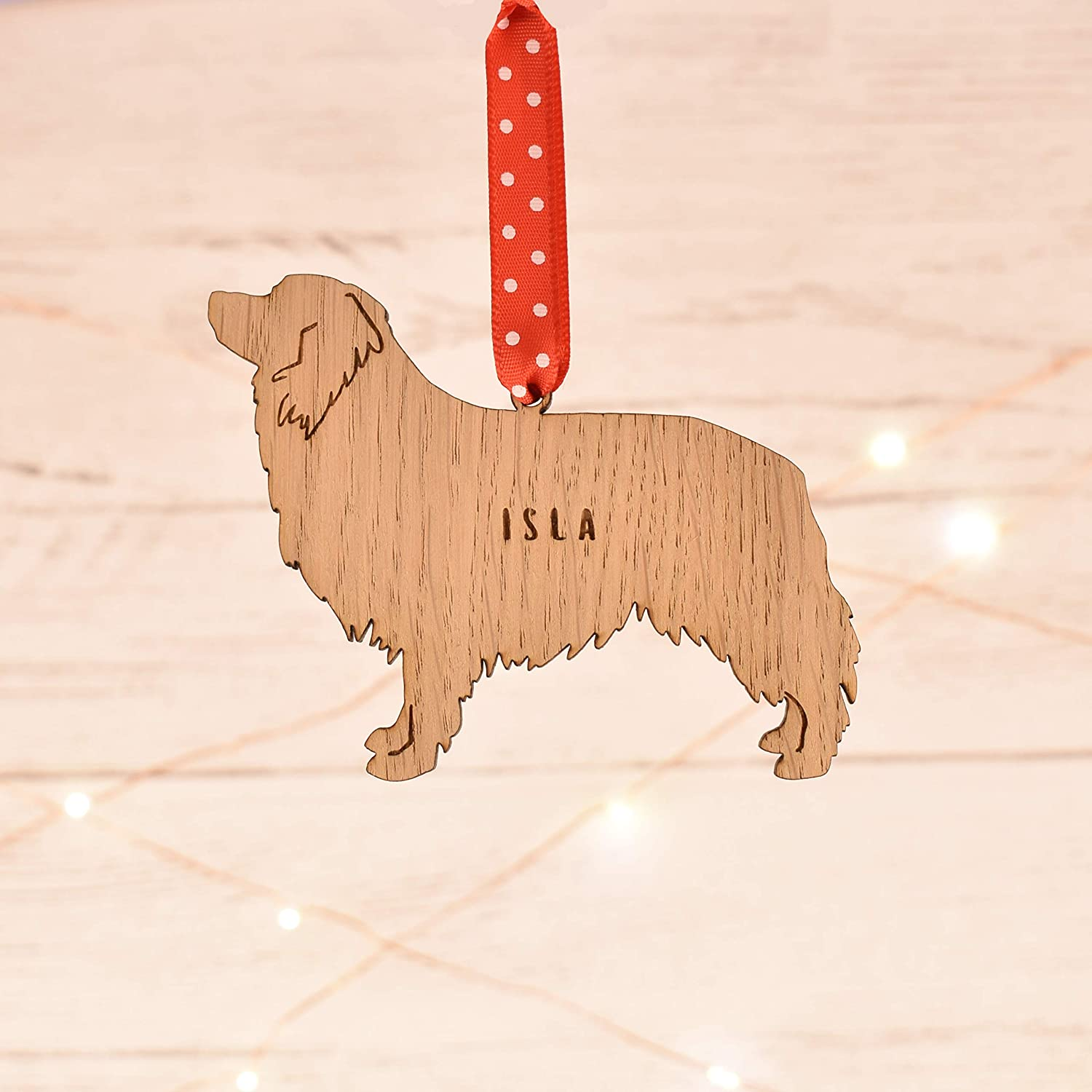 present for pet keepsake ornament Personalised Border Collie dog shaped bauble christmas tree decorations