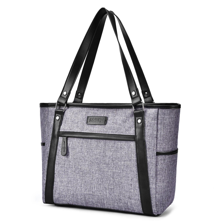 15.6 Inch Laptop Tote Bag Lightweight Stylish Satchel for Women Durable Nylon Travel Bag Casual Shopping Handbag Large Capacity Business Briefcase Multi-function Zipper Shoulder Bag,Gray