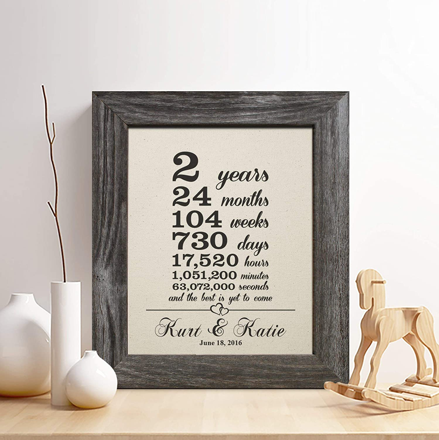 Amazon Com Personalized 2nd Cotton Anniversary Gift For Him Or Her 2 Years And Counting Cotton Print Handmade