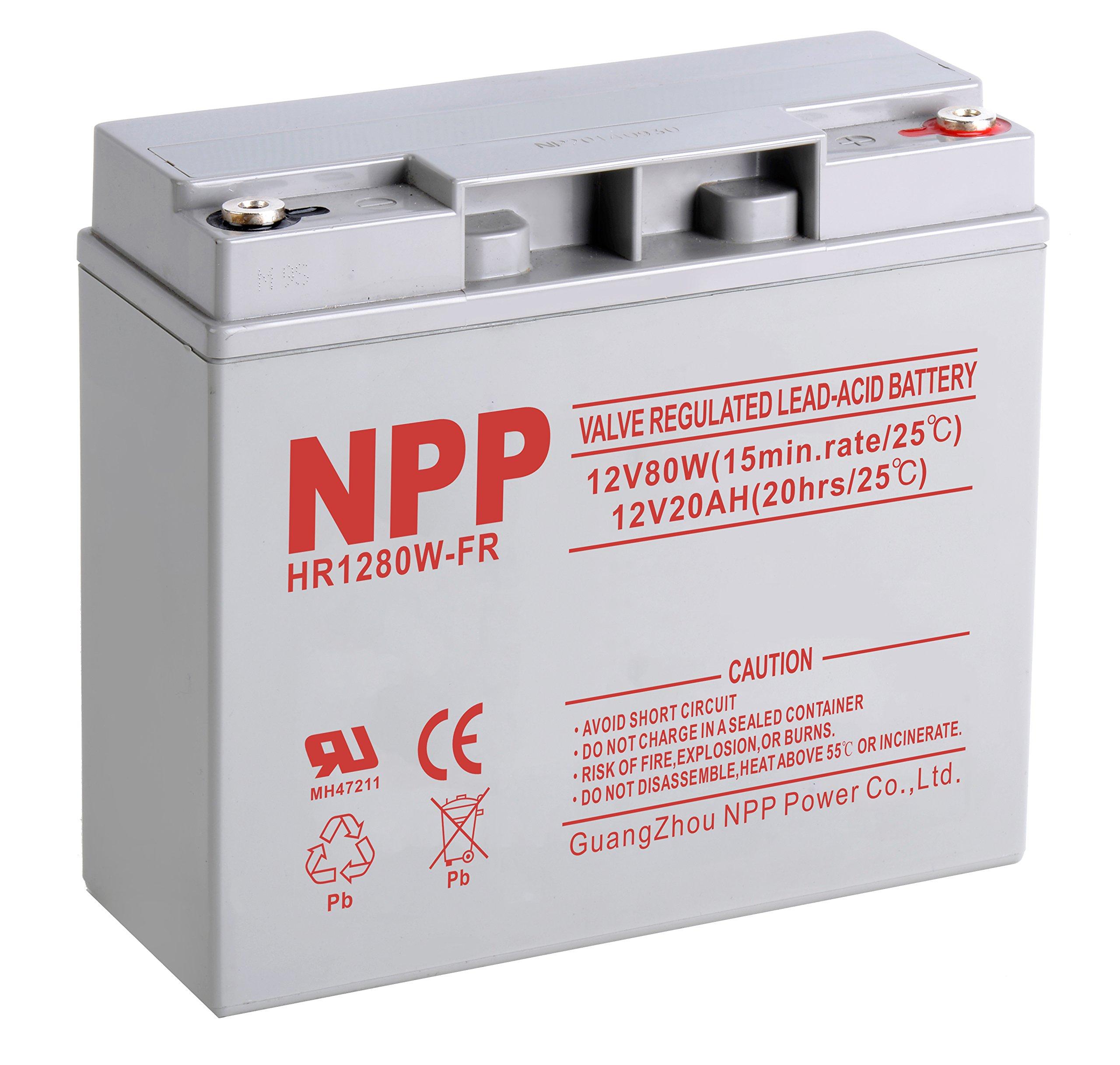 NPP NP12-20Ah 12V 20Ah Sealed Lead Acid SLA Deep Cycle Button Style Terminal Battery by NPP