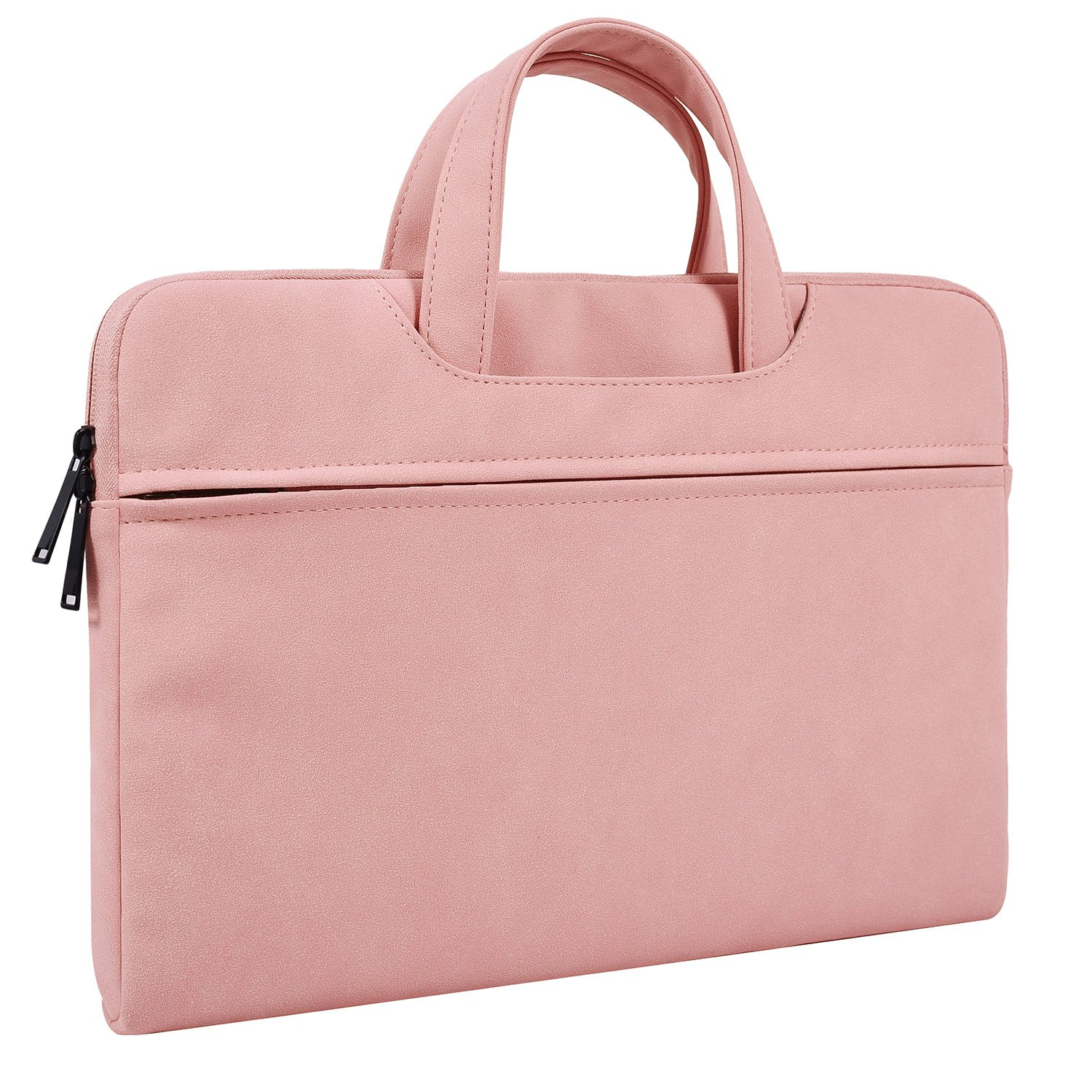 14-15 Inch Premium Leather Laptop Brifecase for MacBook Pro 15 Touch Bar, Acer Chromebook 14, HP Stream 14, Dell XPS 15 9575, ThinkPad X1 Carbon, 14 inch Laptop Bag for Teenage Girls Women, Pink