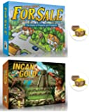 For Sale and Incan Gold Games Bundle plus 2 Treasure Chest Buttons
