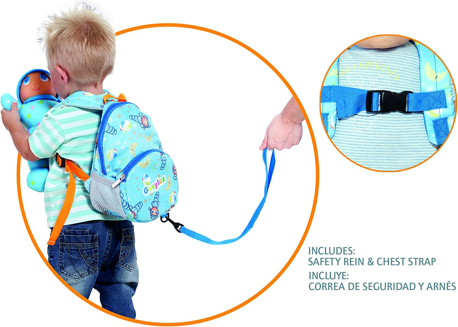 MOLTO Gusy Luz Backpack - Mochila con arnés, color azul: Amazon.es ...