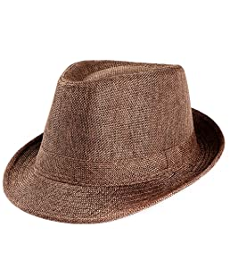 Unisex Sun Straw Hat Trilby Gangster Cap Fedoras Beach Band Sunhat Outdoor Topper Coffee