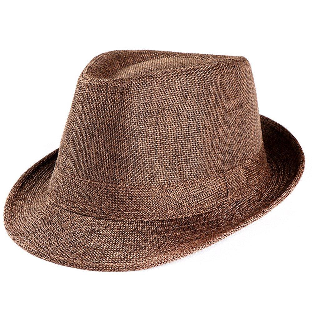 f153c244447 YJYdada Unisex Trilby Gangster Cap Beach Sun Straw Hat Band Sunhat (Coffee)