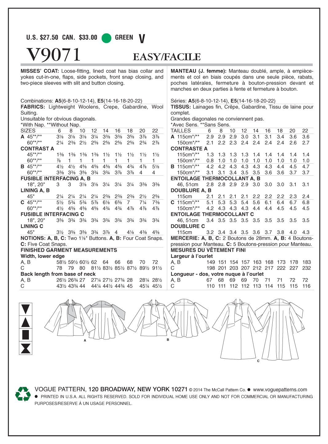 Vogue V9071 costura para confeccionar blusas, trajes, vestidos, moda, VGE 9071 E5 (14-22) 40-48: Amazon.es: Hogar