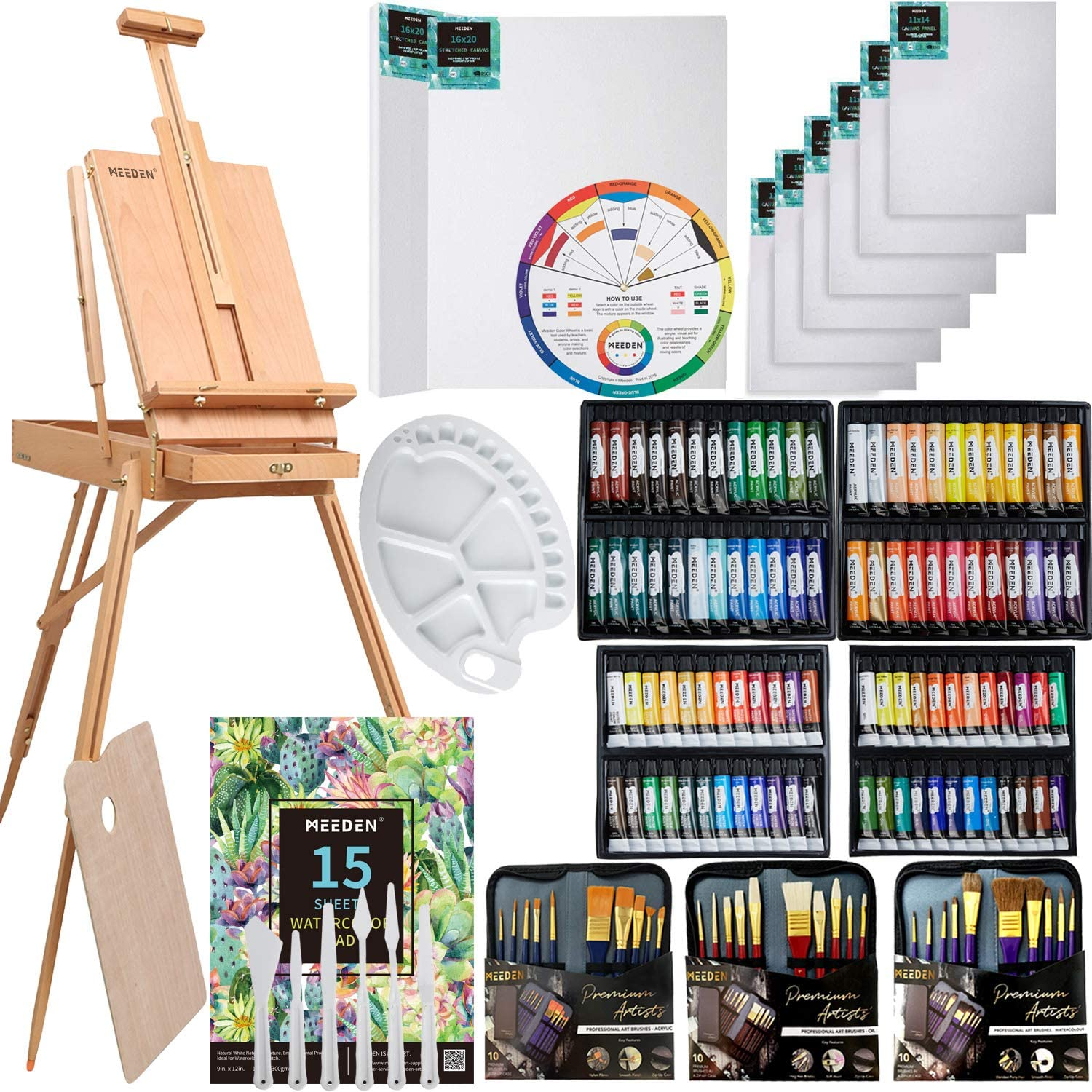 MEEDEN 145 Pcs Deluxe Artist Painting Set with French Easel, Art Painting Brushes Set, Paints Tube Set, Painting Pads, Stretched Canvas, Palette Knives for Acrylic, Oil, Watercolor Painting