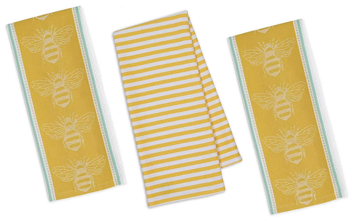 Honey Bee Kitchen Towels | Set of 3 Cotton Decorative Towels for Dish and Hand Drying | 18 inch x 28 inch