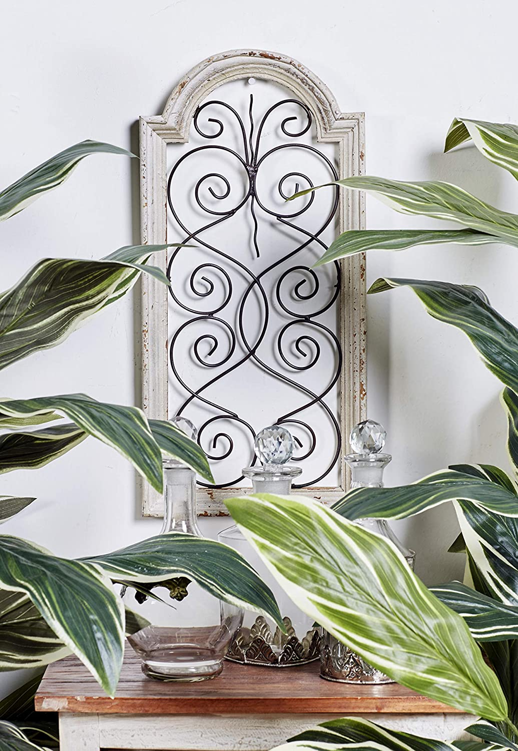 """Small, Vintage Style Distressed White Wood & Metal Wall Decor Panel,  Decorative Gate Wall Decor, Antique Wood Decor Decorative Wall Panel, 11"""" x  11"""""""
