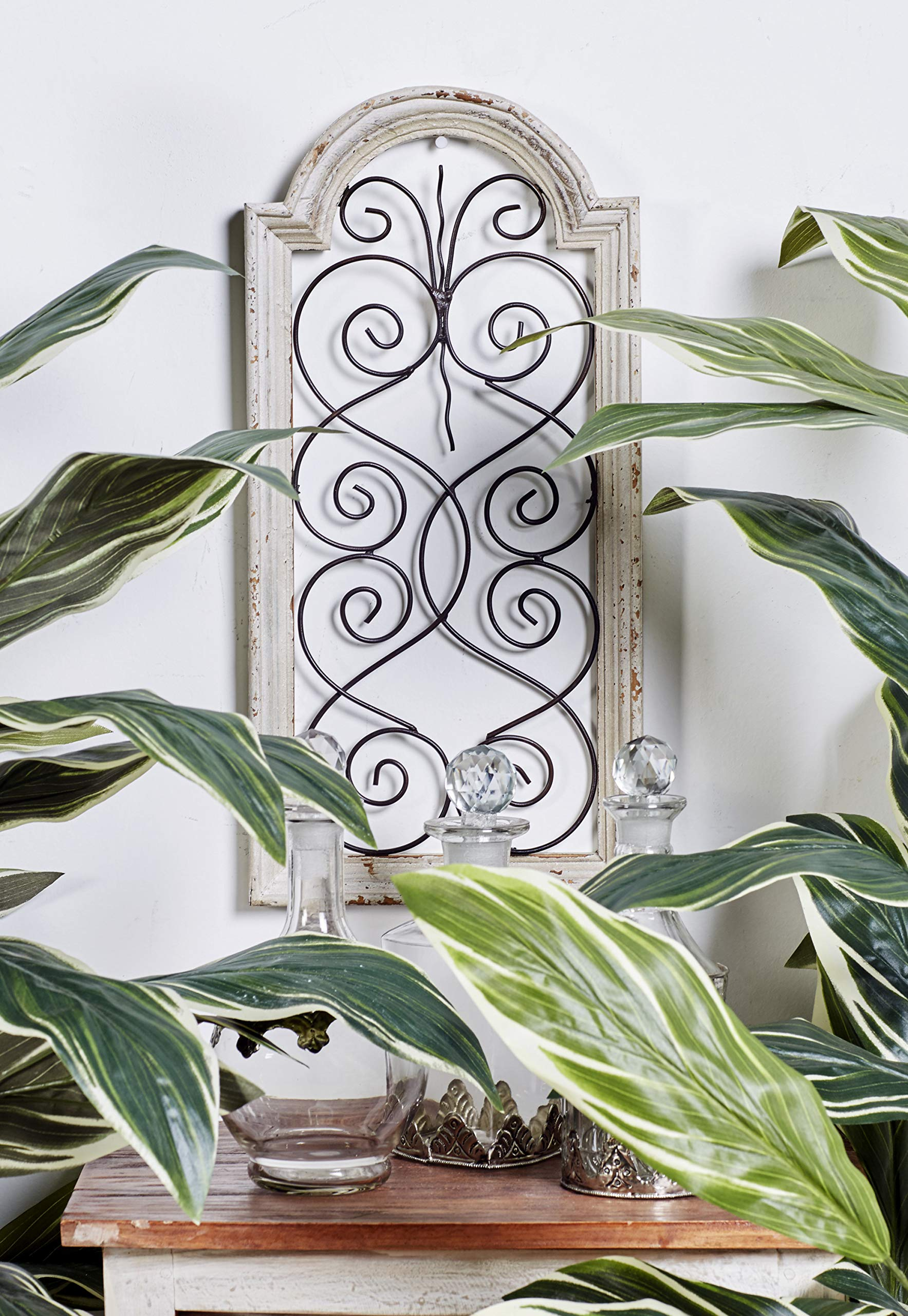 """Small, Vintage Style Distressed White Wood & Metal Wall Decor Panel,  Decorative Gate Wall Decor, Antique Wood Decor Decorative Wall Panel, 12"""" x  12"""""""