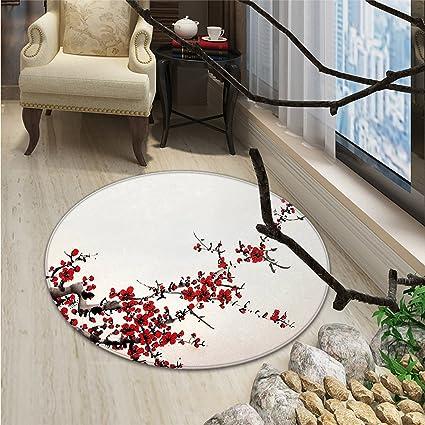 Art Round Rugs Cherry Blossom Sakura Tree Branches Ink Paint Stylized  Japanese Artful PatternOriental Floor And