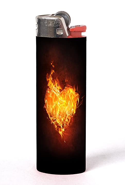 Burning Heart Flame On Fire 2 PACK Vinyl Decal Wrap Skin Stickers For Bic Lighters By