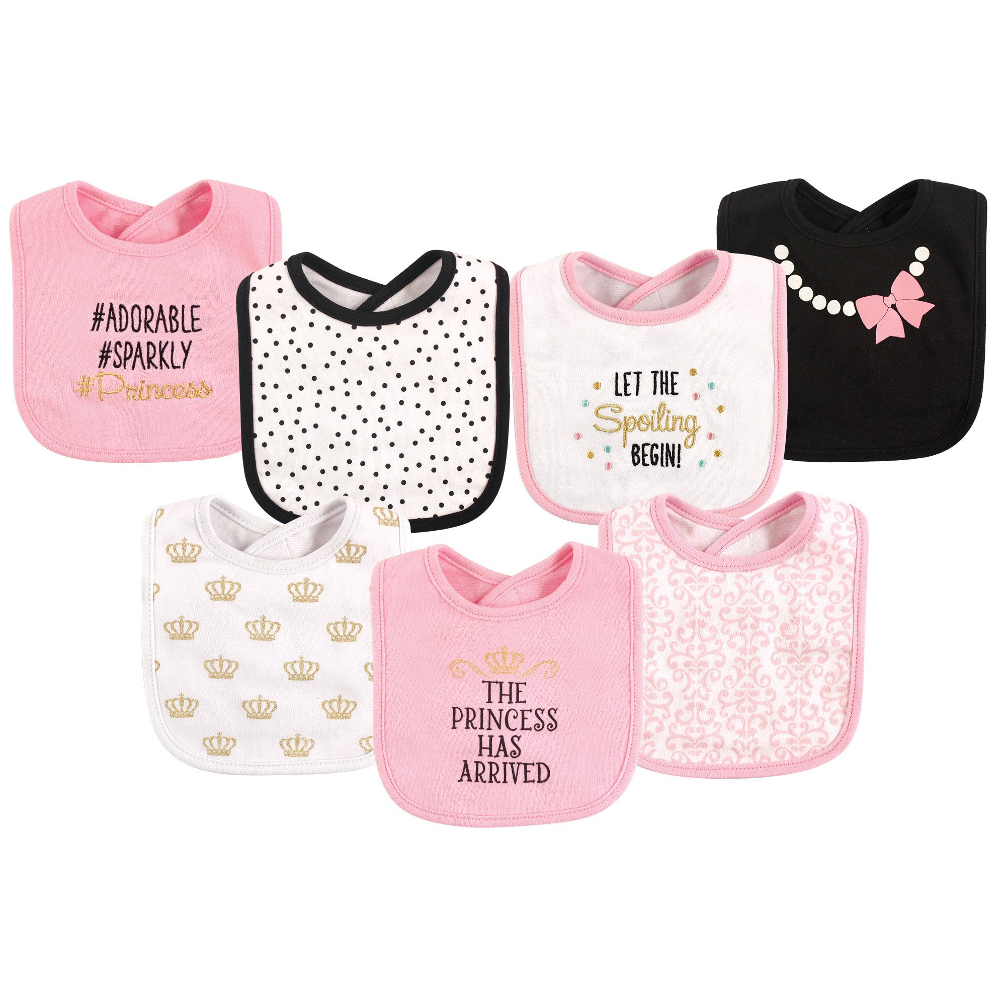 Hudson Baby Cotton Drooler Bibs, 7 Pack, Princess, One Size