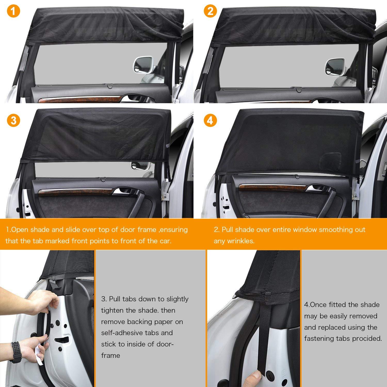 tendina parasole auto bambini per Lato posteriore finestra auto nero Parasole Auto per Bambini 2 pezzi Tendine Parasole Auto per bambini baby con raggi UV//Protezione abbagliamento