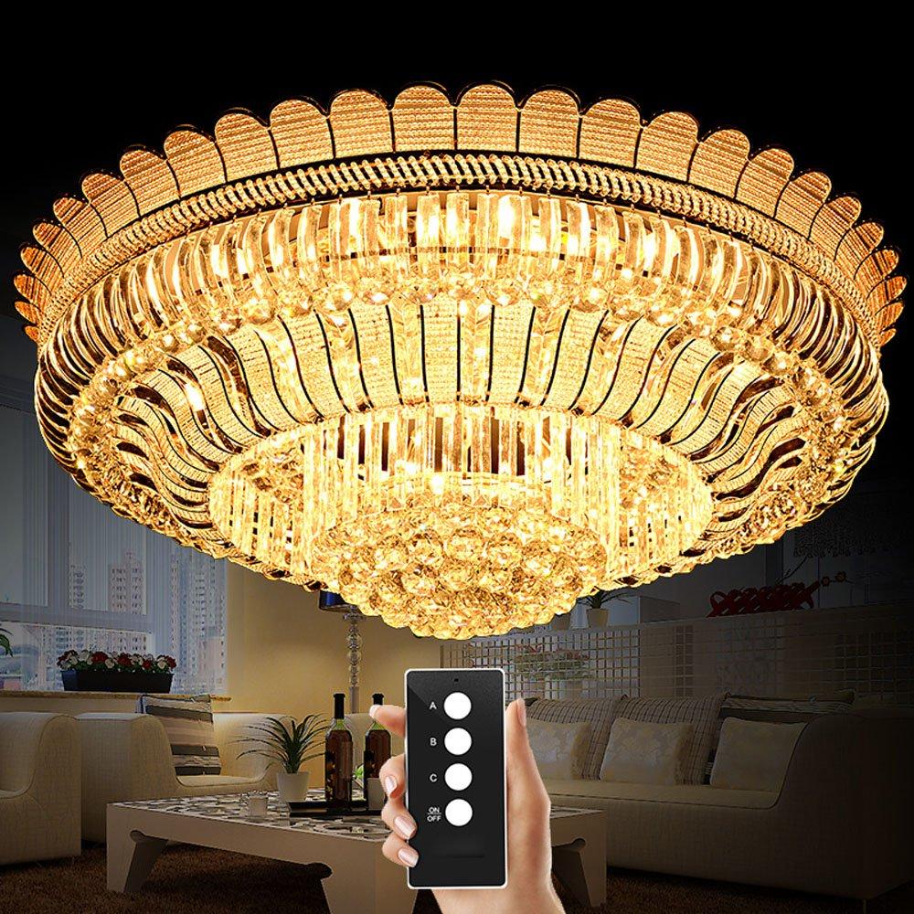 Wenrun Lighting Villa Wohnzimmer LED 3 Helligkeit K9 Kristall und S-Gold Spiegel Edelstahl Kronleuchter Deckenlampen Hängelampe Lüster Leuchte Lampen Licht Mit LED Glühbirne und Fernbedienung