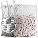 TENRAI Set of 3 Delicates Honeycomb Mesh Laundry Bags, with YKK Zipper, Hanging Ring, Lingerie, Hosiery, Gloves, Socks…