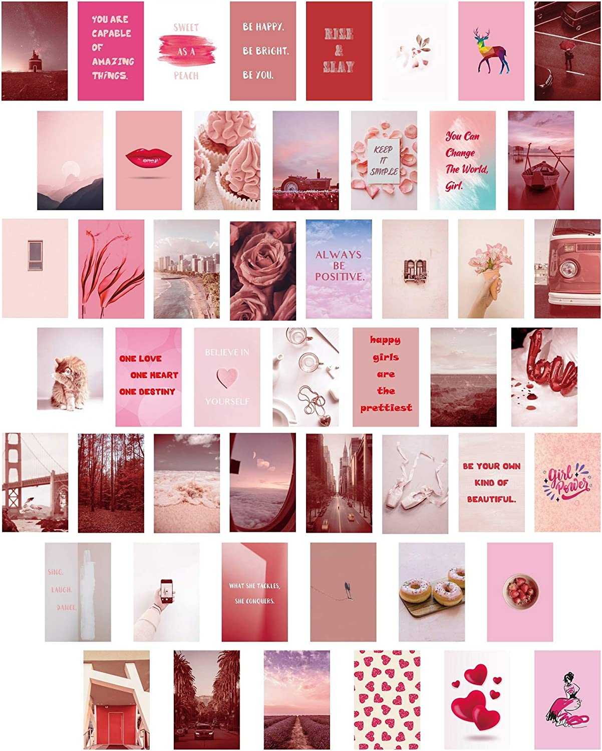 MINI ZOZI Pink Aesthetic Wall Collage Kit for Room Decor, Set of 50 in 1 Pack, 4x6 INCH, Small Photos Pictures Posters for Teens and Little Girls Bedroom Dorm Walls Art Decors