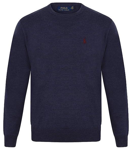 9cc72e6183d23 Ralph Lauren Mens Merino Wool Crew Neck Jumper  Amazon.co.uk  Clothing