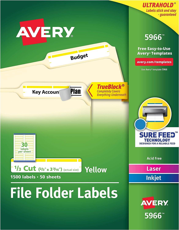 Avery 5966 Permanent File Folder Labels, TrueBlock, Inkjet/Laser, Yellow Border, Box of 1500, White