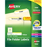 Avery 5966 Permanent File Folder Labels, TrueBlock, Inkjet/Laser, Yellow Border, Box of 1500, White