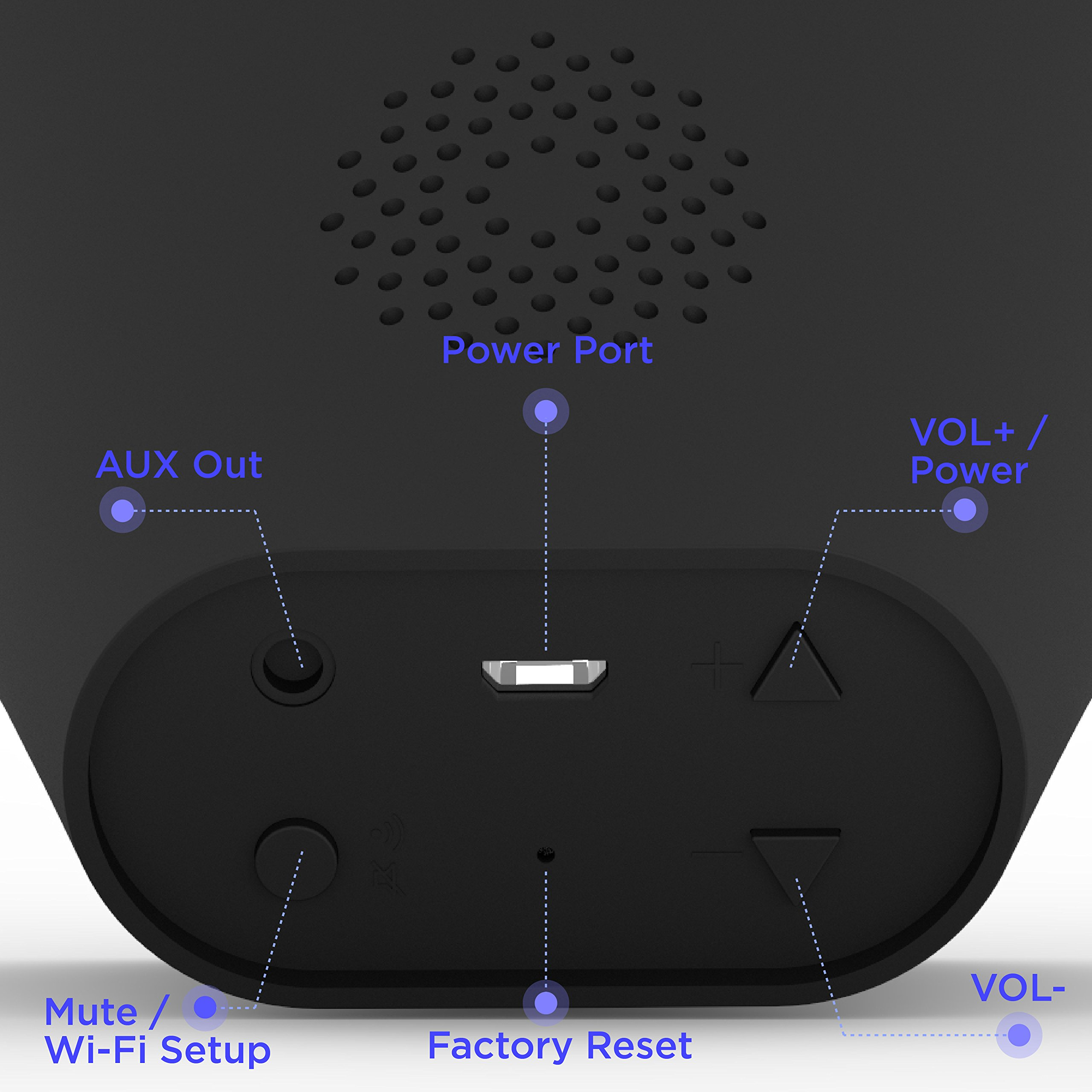 Vobot Smart Alarm Clock with Amazon Alexa[Touch-Initiate], 5W Speaker, LED Display, White Noise Machine, Timer/Date/Weather/Daily News/Radio/Music(Amazon Music, iHeartRadio, TuneIn etc) by VOBOT (Image #8)